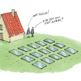 cartoon van zonnepanelen in de tuin